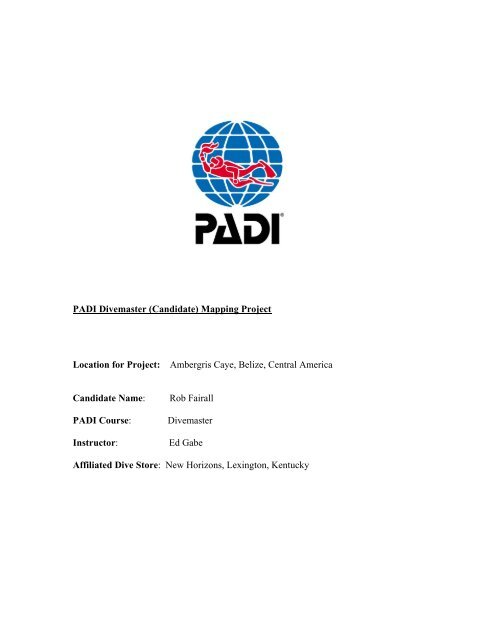 PADI Divemaster (Candidate) Mapping Project Location for