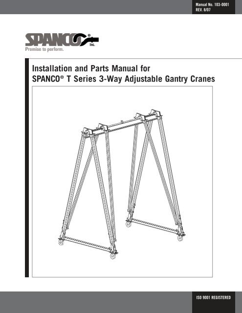 crane parts diagram 2008 ford super duty trailer wiring spanco t series gantry installation and manual