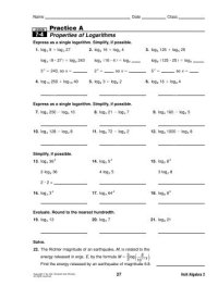 Properties Of Logs Worksheet