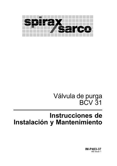 Válvula de purga BCV31 Instrucciones de Instalación