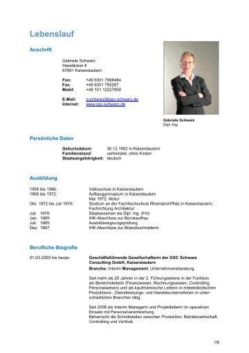 Lebenslauf G Schwarz100414x  Gsc Schwarz Consulting Gmbh