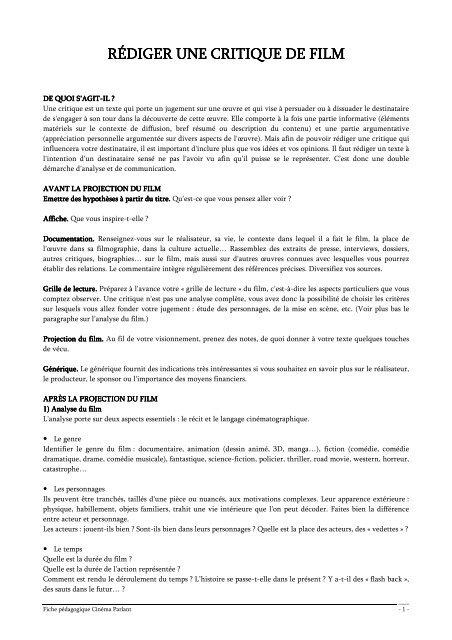 Rédiger Une Critique De Film : rédiger, critique, Rédiger, Critique, Cinéma, Parlant