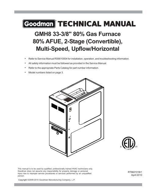 Goodman Furnace Diagram : goodman, furnace, diagram, Manual, Goodman