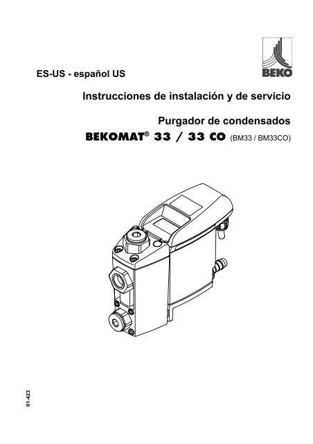 Instrucciones de instalación y de servicio Purgador de