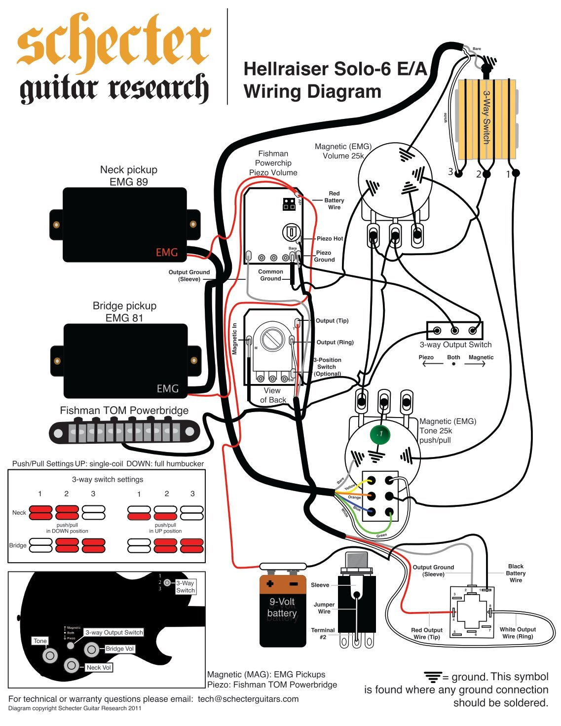 electric guitar wiring diagram one pickup what color is your parachute flower for schecter