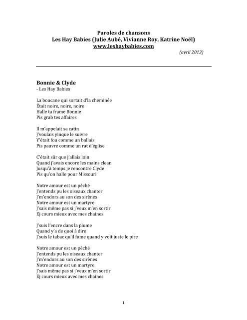 Quand T Es Dans Le Désert Paroles : quand, désert, paroles, Paroles, Quelques, Chansons, Babies