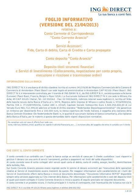 Foglio Informativo Versione Del 21042013 Ing Direct