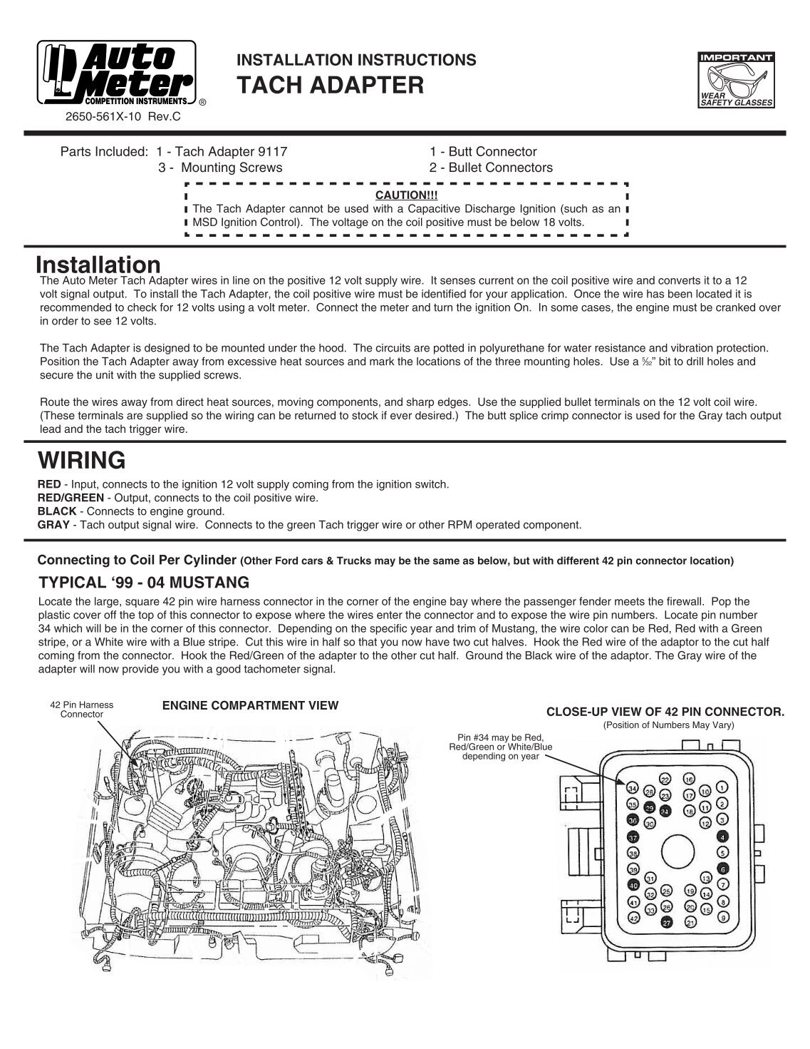 wiring diagram and tach adapter installation instructions auto meter quality 80 pro comp pc [ 1137 x 1471 Pixel ]