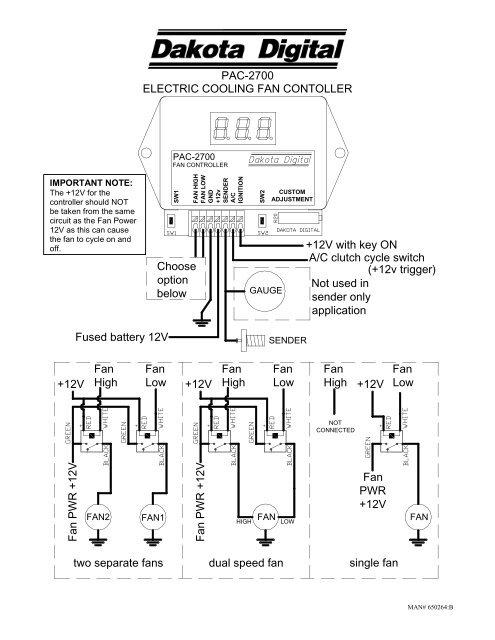 pac2700 electric cooling fan contoller   dakota digital