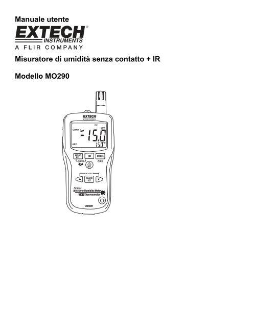 Manuale utente Misuratore di umidità senza contatto + IR