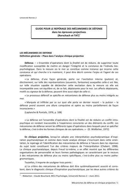Les 7 Niveaux De Mecanismes De Defense : niveaux, mecanismes, defense, Psychologie, Projective, Guide, Mécanismes, Défense.pdf