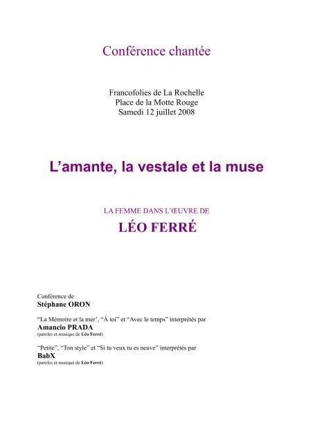Femme à La Mer Paroles : femme, paroles, FERRÉ, FEMME, Chanson