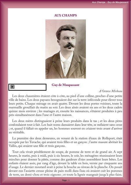 Guy De Maupassant Aux Champs : maupassant, champs, CHAMPS, Maupassant, Octave, Mirbeau