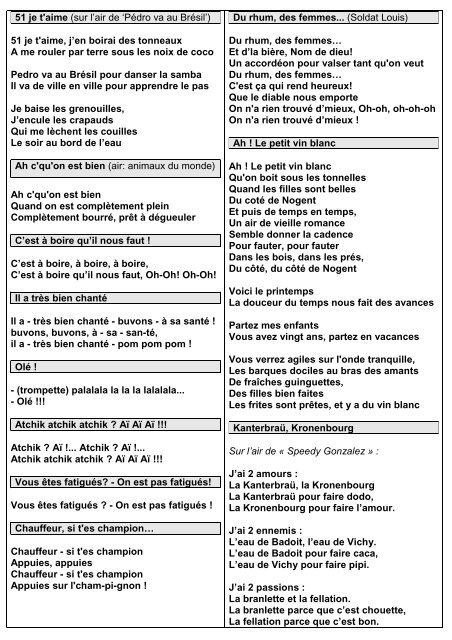 51 Je T Aime Paroles : paroles, T'aime, L'air, 'Pédro, Brésil'), Michel
