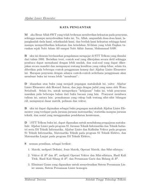 Calculus one and several variables, john willey, 1982. Aljabar Linier Elementer I Kata Pengantar M Aha Besar Allah