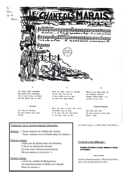 Chant Des Marais Paroles : chant, marais, paroles, Chant, Marais, Musée, Résistance, Déportation