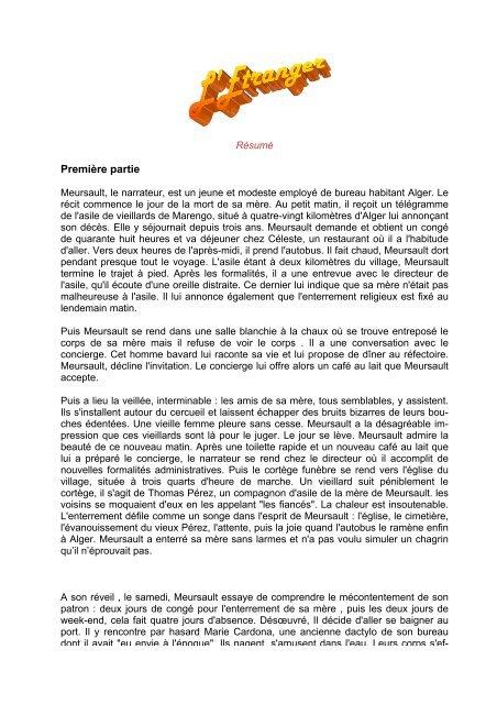 Résumé De L'étranger De Camus : résumé, l'étranger, camus, L'Etranger, Albert, Camus