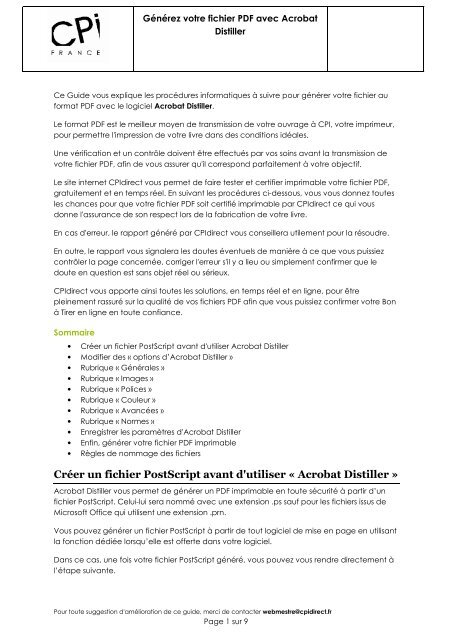 Creer Un Livre Pdf En Ligne : creer, livre, ligne, Générer, Livre, Acrobat, Distiller, CPIdirect.fr