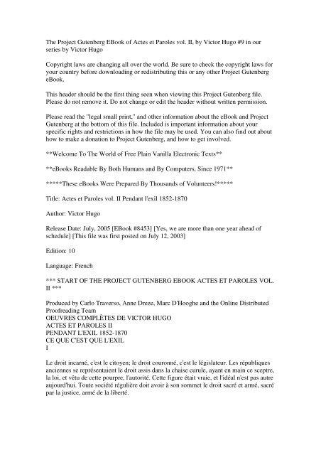 La Gloire Ou L'asile Paroles : gloire, l'asile, paroles, Project, Gutenberg, EBook, Actes, Paroles, Victor
