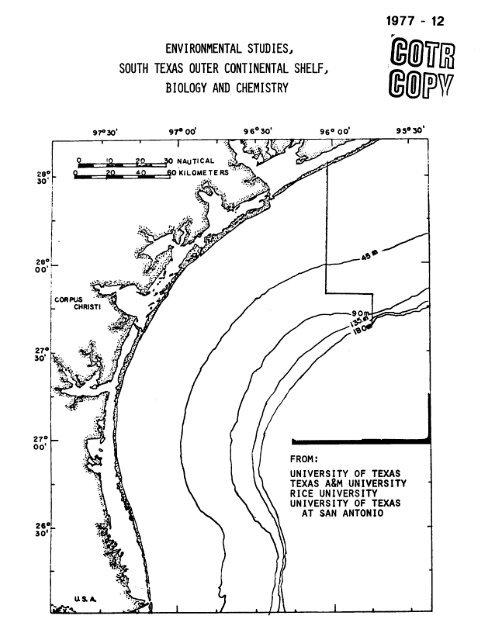 environmental studies, south texas outer continental shelf