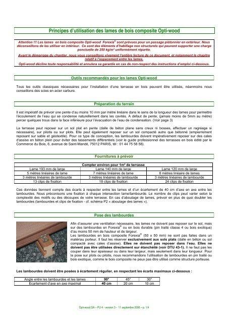 Notice D Utilisation Des Lames De Terrasse Bois Composite Point P