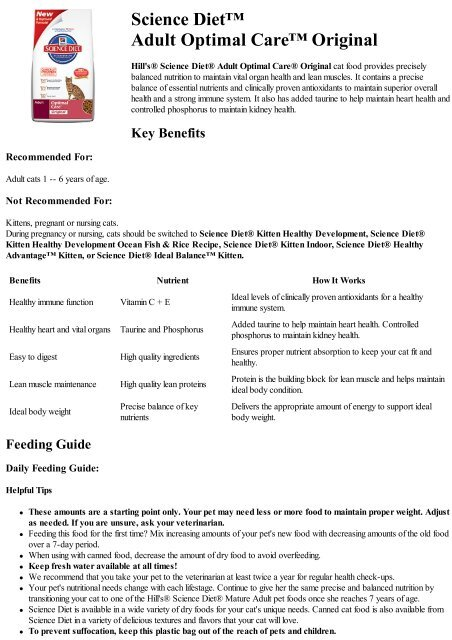Science Diet Feeding Chart Cat : science, feeding, chart, Science, Diet™, Adult, Optimal, Care™, Original, Hill's, Nutrition