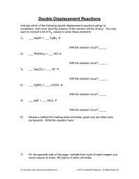 worksheet. Double Displacement Reactions Worksheet