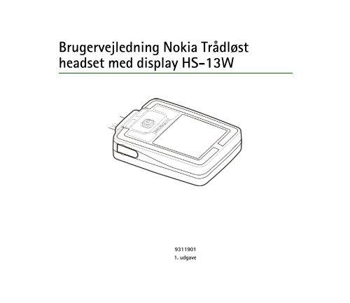 Brugervejledning Nokia Trådløst headset med display HS-13W