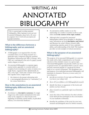 Research and annotated bibliography  Essays HUB