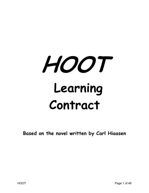 HOOT Learning Contract