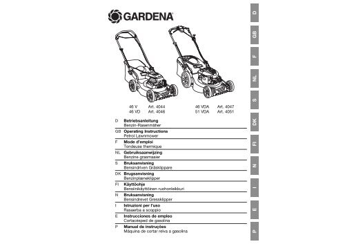 OM, Gardena, Benzin-Rasenmäher, Art 04044-20, Art 04046-20