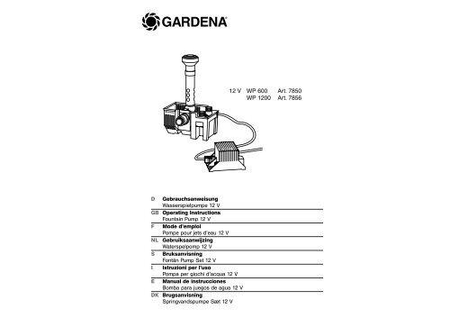 OM, Gardena, Wasserspielpumpe 12V, Art 07850, Art 07856