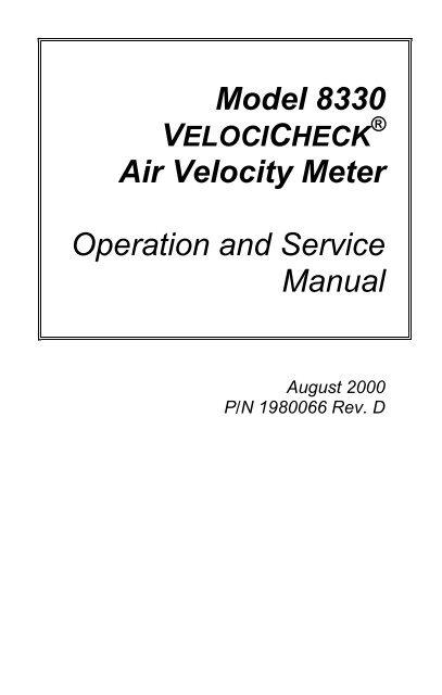 Model 8330 VELOCICHECK® Air Velocity Meter Manual