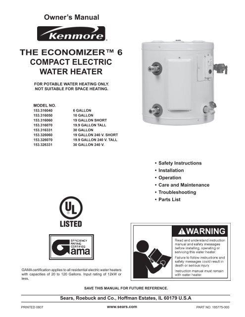 Sears Water Heater Installation Cost : sears, water, heater, installation, Economizer™, Compact, Electric, Water, Heater, Sears