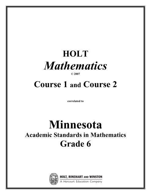 Holt Mathematics Course 1 and Course 2 Correlation to
