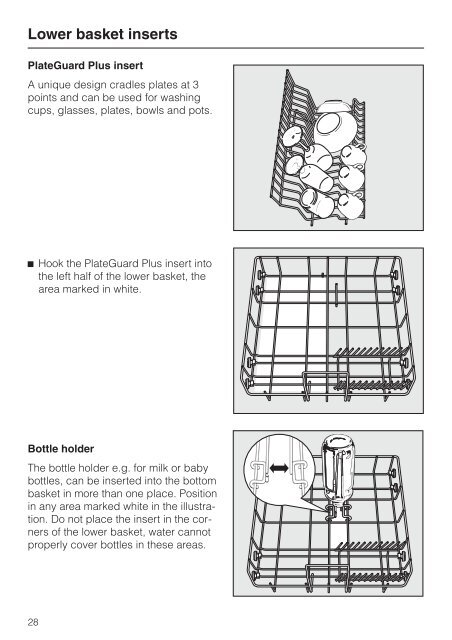 Lower basket inserts Plat
