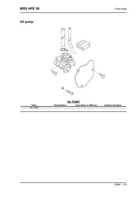 Time-sheet MSS APE 50 Cyl