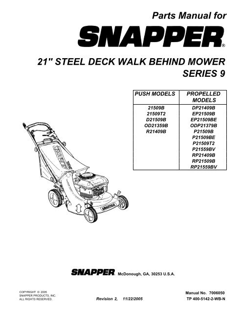 Parts Manual for 21