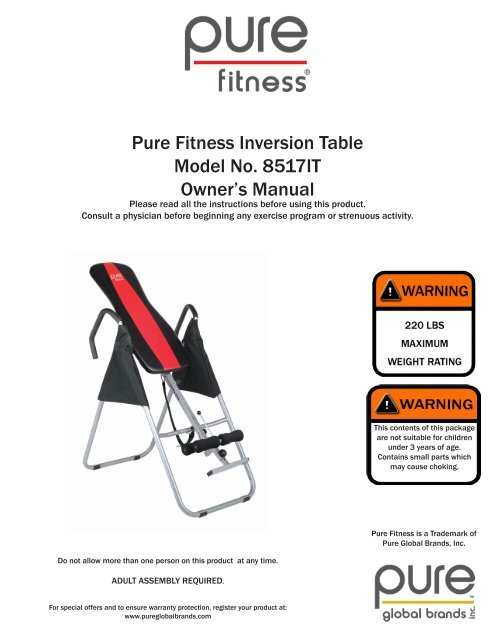 Pure Fitness Inversion Table Model No. 8517IT Owner's Manual