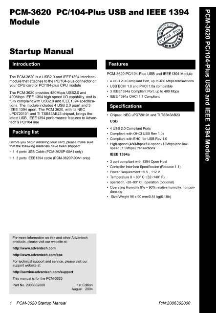 PCM-3620 PC/104-Plus USB and IEEE 1394 Module Startup Manual