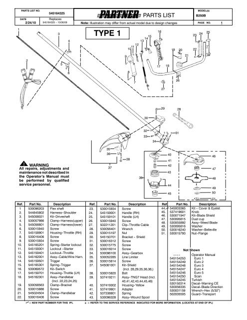 IPL, Partner, B250 B GT, 952715681, 2010-03, Brush Cutter