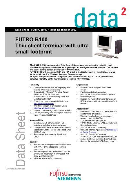 FUTRO B100 Thin client terminal with ultra small footprint