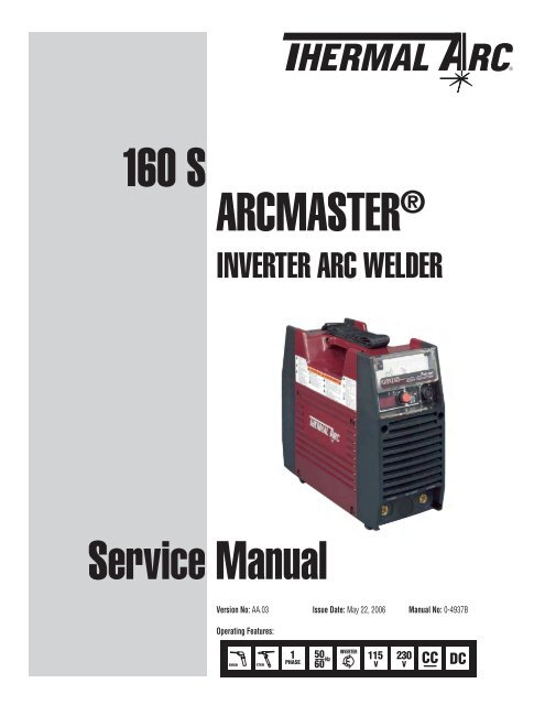 thermal arc arcmaster 160 s service manual04937b