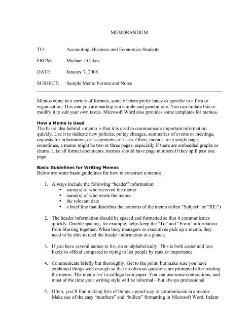 Sample Business Memo And Saint Joseph S College
