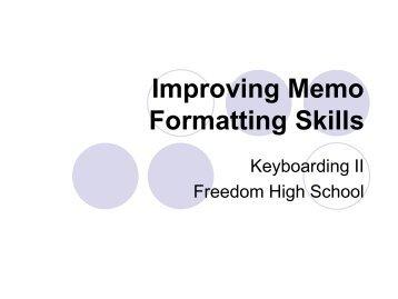FORMATTING MEMOS Computer