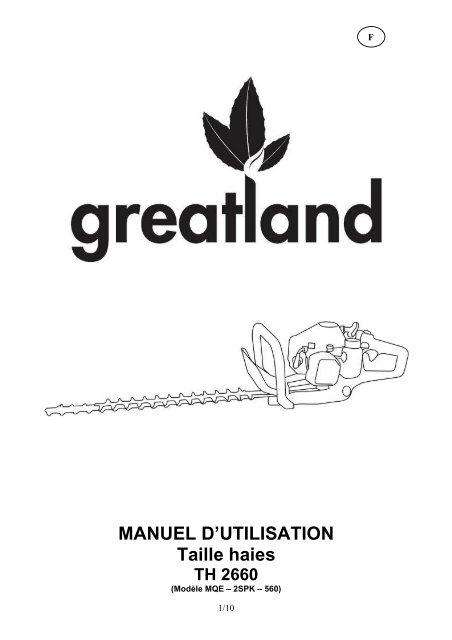 MANUEL D'UTILISATION Taille haies