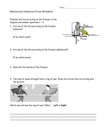 Unit IV, Worksheet 5 Weight and Mass & Forces in Equilibrium