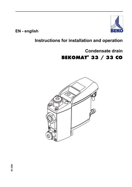 Instructions for installation and operation Condensate