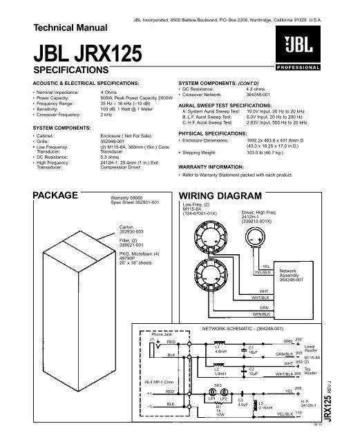 Technical Manual JBL JRX125 SPECIFICATIONS