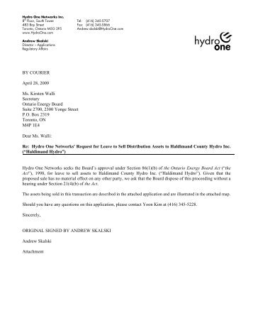 Hydro One cover letter attaching Application